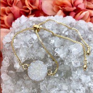 💫 NEW! SMALL DRUZY Stone Gold Bolo Bracelet 💫